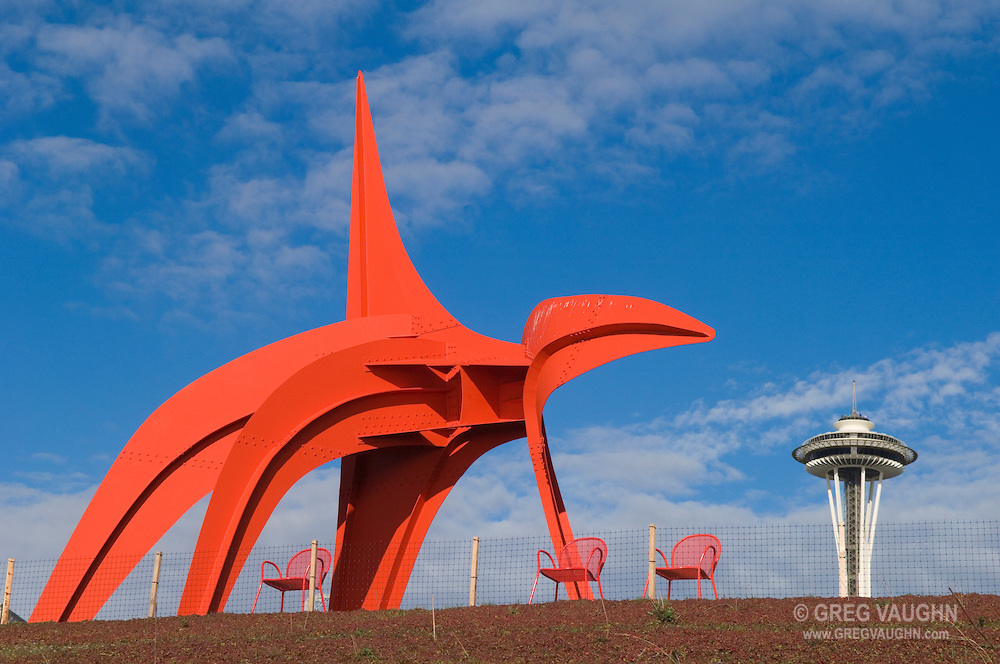 "Alexander Calder's ""Eagle"" in the Seattle Art Museum's Olympic Sculpture Park with the Space Needle in the distance; Seattle, Washington."