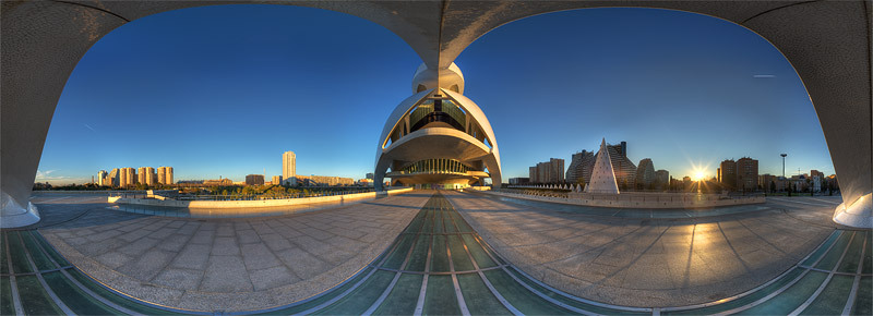 360 degree panorama of Palau de les Arts Reina Sofia, Valencia, Spain