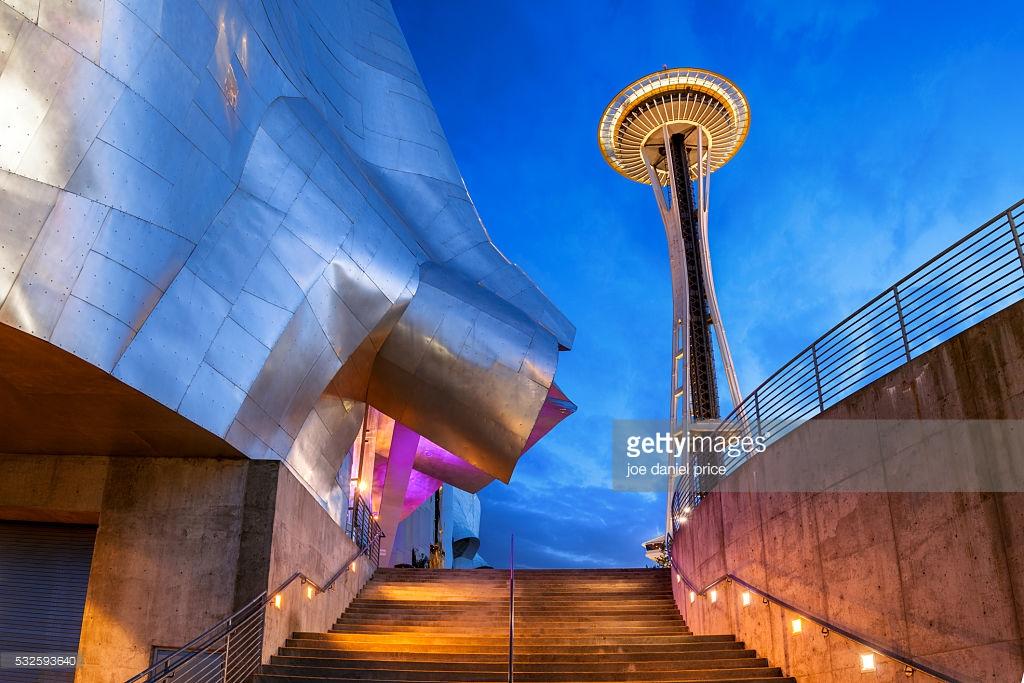 Space Needle and EMP Museum, Seattle, Washington, America