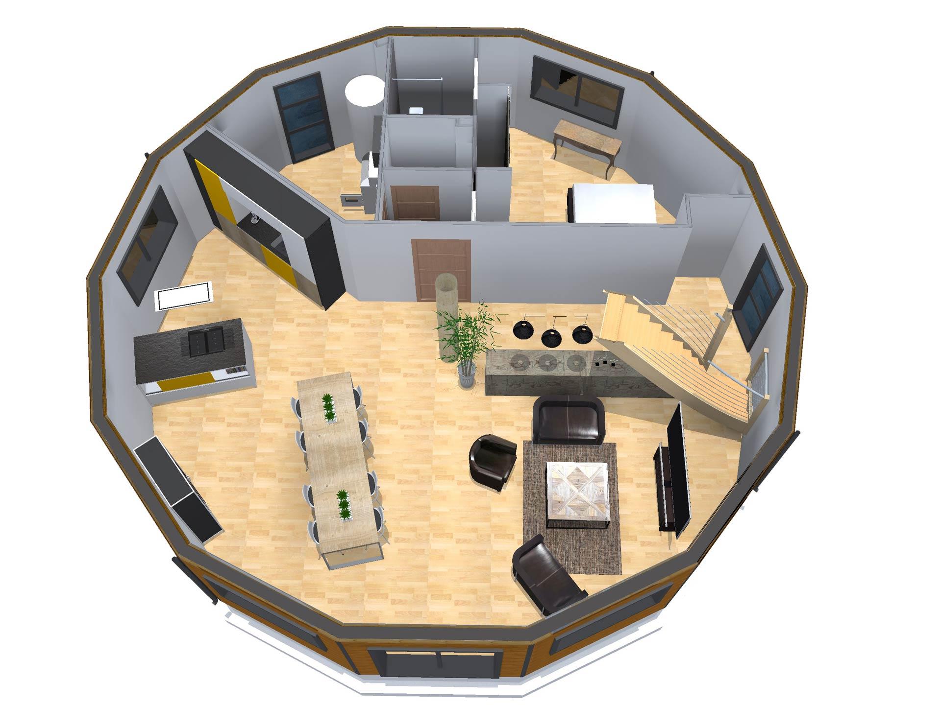 Maison en bois livree montee maison moderne for Interieur de ronde