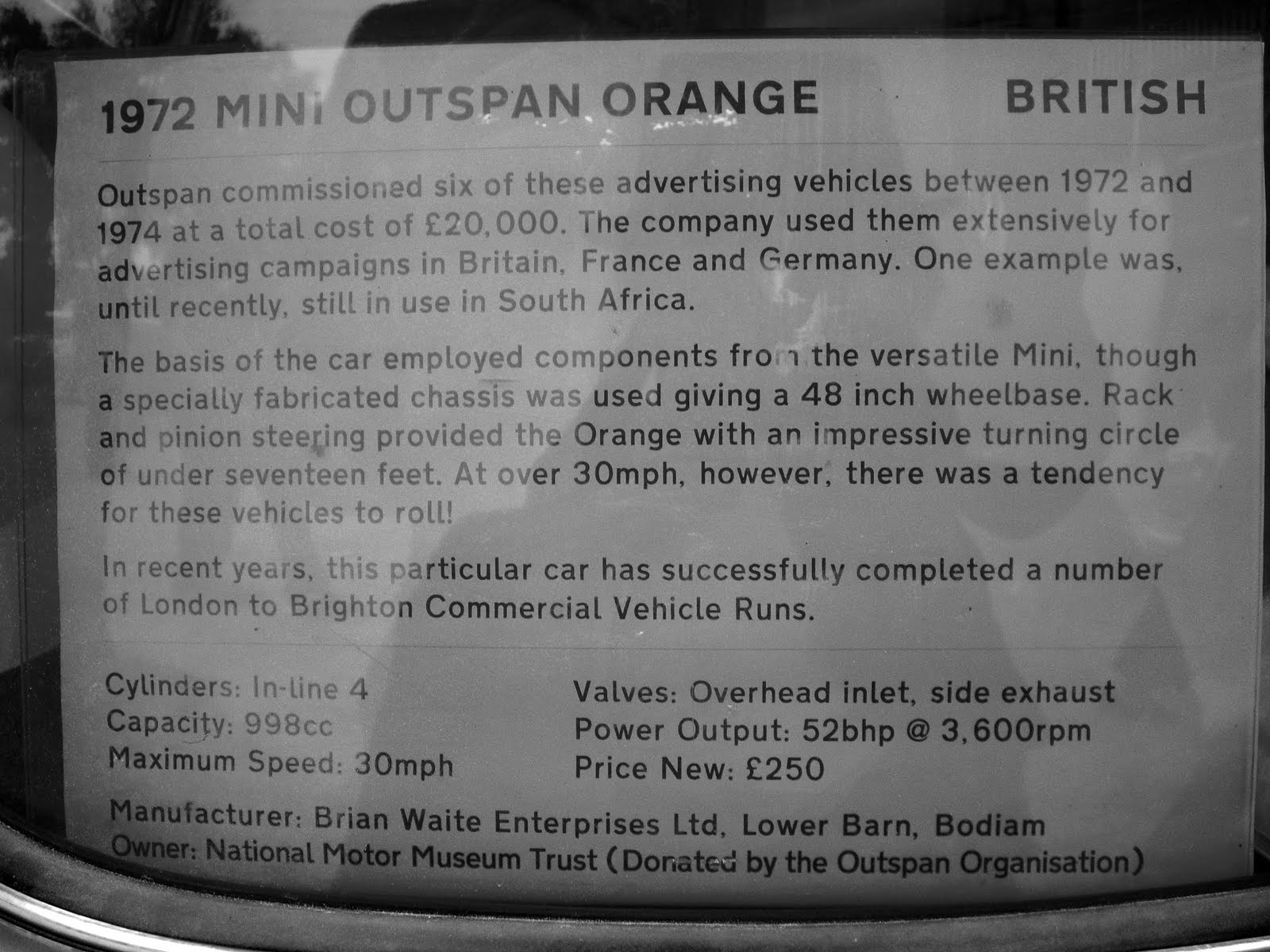 Minis Voiturettes Minis Outspan Production (1972 1974) UK